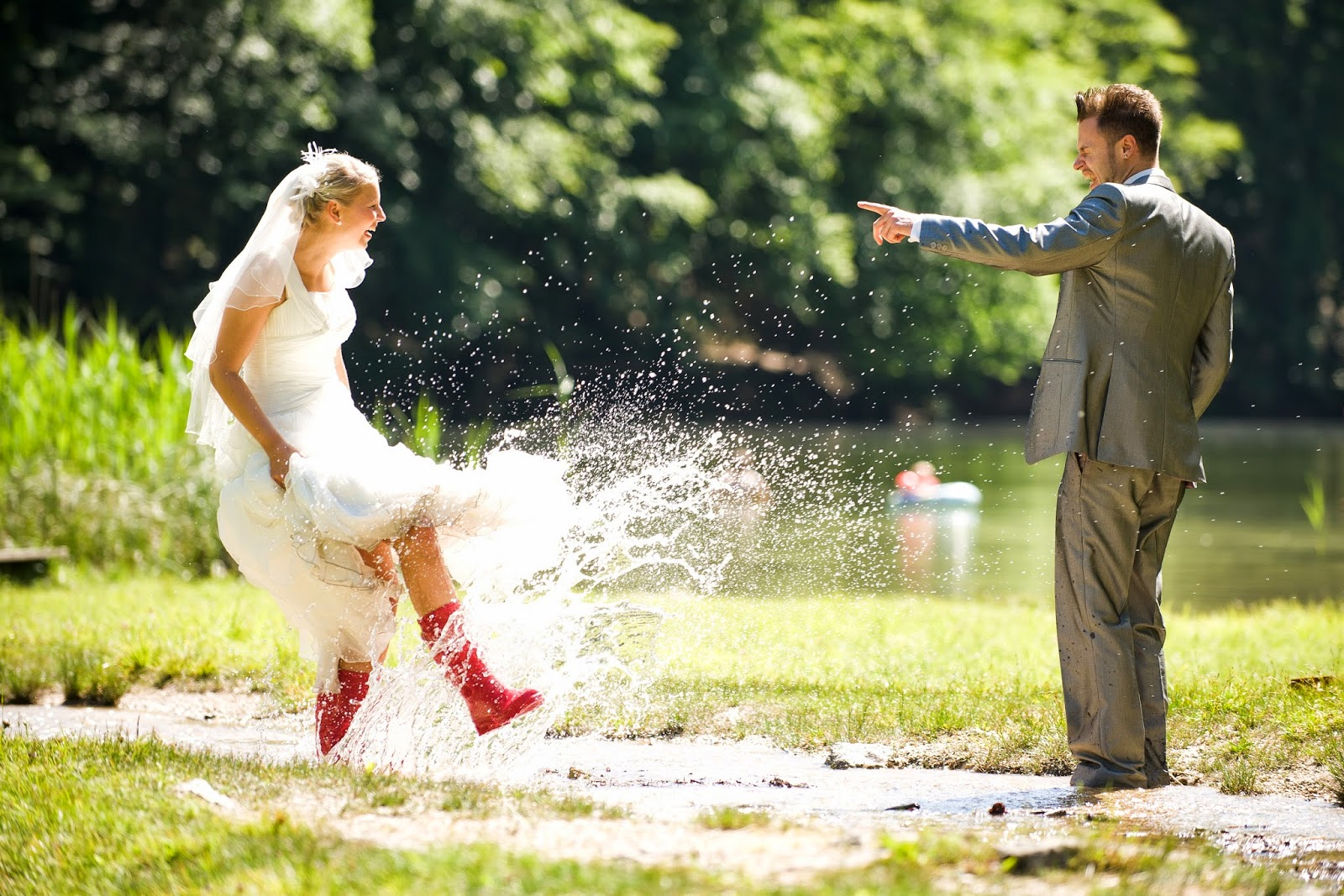 Rustic 4 Weddings Church House Woodworks Trash The Dress Splashing In Water Rainboots 2.jpg